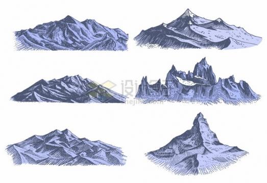 6款手绘高山大山山脉插画557386png图片素材