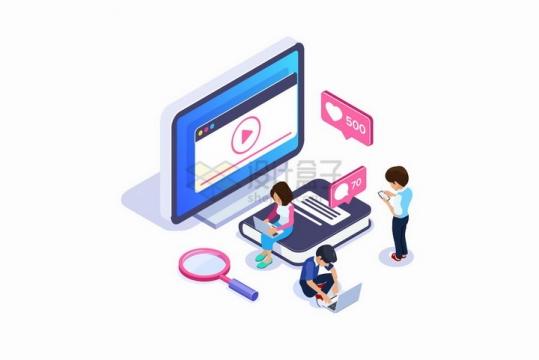 低头族正在通过电脑和手机为视频点赞社交网络png图片免抠矢量素材