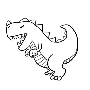 手绘线条素描风格恐龙简笔画图片免抠素材