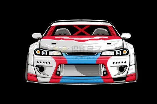 漫画风格白色汽车赛车正面图png图片免抠矢量素材