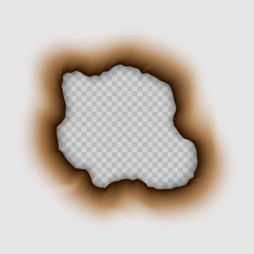 烧了一个窟窿的烧焦的白纸免抠矢量图片素材