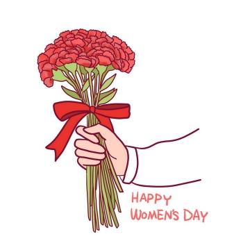 手绘风格一束康乃馨母亲节花朵花卉图片素材