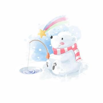 彩绘风格卡通小白熊北极熊正在钓鱼png图片免抠矢量素材
