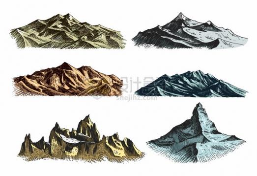 6款手绘高山大山山脉插画749152png图片素材