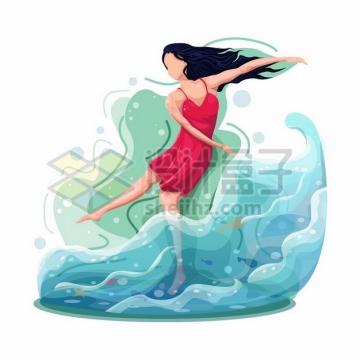 红衣美女在水中漂浮着567849png图片素材