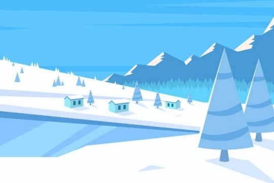 扁平化大山中的风景雪景背景图片