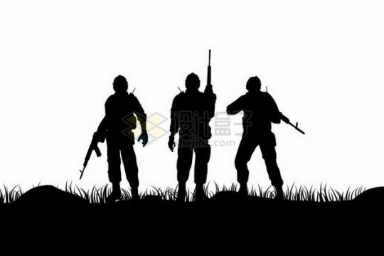 3名拿着步枪的士兵战士剪影png图片免抠矢量素材