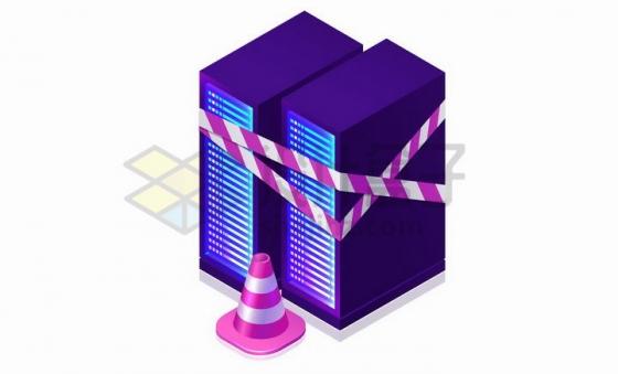 抽象紫色服务器正在维护中服务器崩溃了png图片免抠矢量素材