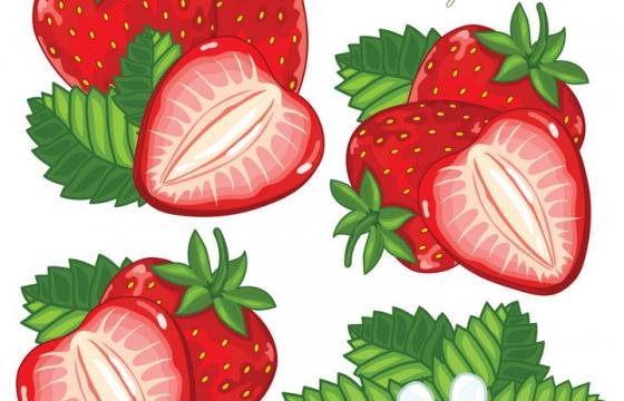 手绘切开的草莓美味水果和草莓花朵图片免抠矢量素材