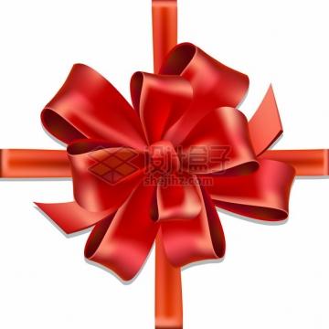 红色丝带蝴蝶结礼品包装png图片素材