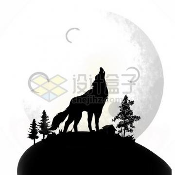 山顶对着月亮狼嚎的野狼剪影390500psd/png图片素材