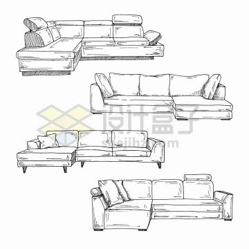 4款手绘素描风格客厅组合沙发png图片免抠矢量素材