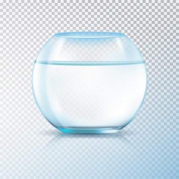 平静水面的球形透明玻璃鱼缸图片免抠素材