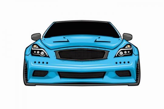 漫画风格蓝色汽车跑车正面图png图片免抠矢量素材