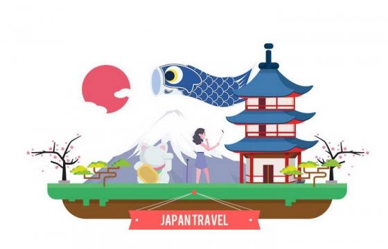 扁平化风格日本旅游标志性景点图片免扣素材