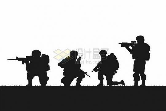 4名不同动作的士兵战士剪影png图片免抠矢量素材