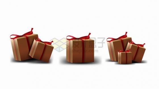 3个扎着红色蝴蝶结的礼物盒纸箱子png图片素材