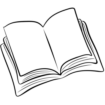 手绘线条素描风格打开的书本简笔画图片免抠素材