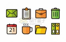 邮件文件夹公文包垃圾桶日历等办公图标721049png图片素材