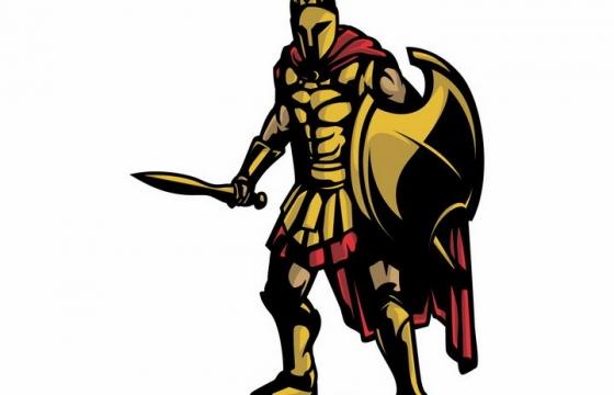 卡通漫画风格手持利剑和盾牌准备决斗的古罗马战士角斗士png图片免抠矢量素材