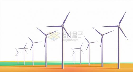 风力发电场一排排的发电机组416116png图片素材