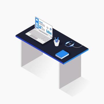 2.5D风格办公桌上的笔记本电脑以及无线充电手机图片免抠矢量素材
