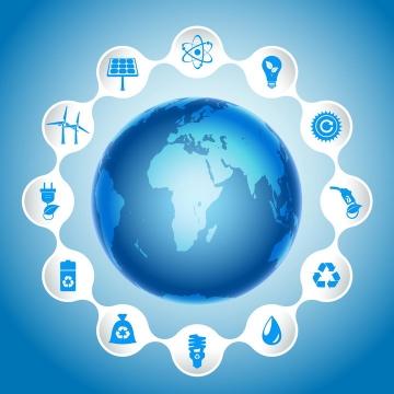 蓝色地球和环绕的环保标志图片免抠矢量素材