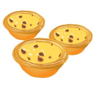 3个手绘蛋挞png图片免抠素材