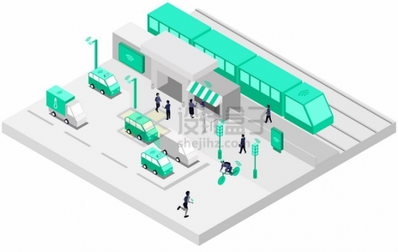 2.5D风格5G技术智能交通运输png图片素材