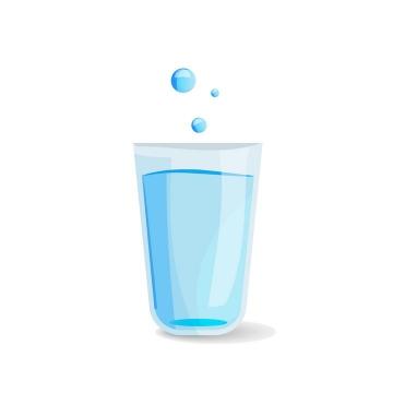 卡通风格玻璃杯中的蓝色水和水滴图片免抠素材