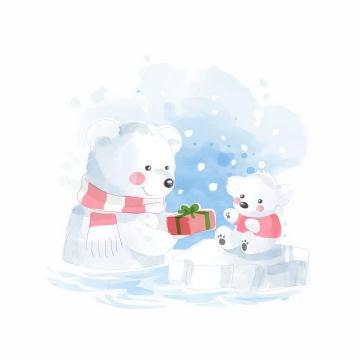 彩绘风格卡通北极熊妈妈给孩子送礼物png图片免抠矢量素材
