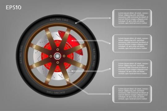 汽车轮胎轮毂刹车卡钳侧面图组成详解图png图片免抠矢量素材