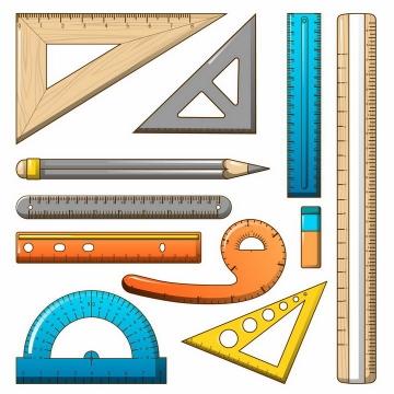手绘风格的直尺三角尺量角器铅笔橡皮檫等学生学习用品测量工具png图片免抠矢量素材