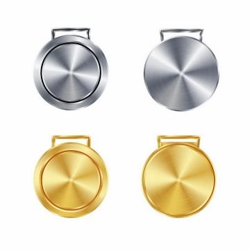银色和金色金属拉丝风格的按钮png图片免抠矢量素材