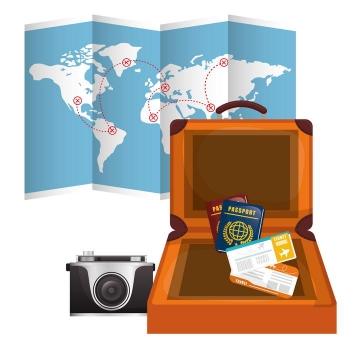 一份打开的地图和旅行箱旅游主题图片免抠素材