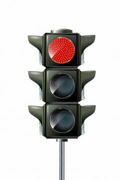 竖杆状红灯亮的红绿灯交通信号灯免抠png图片矢量图素材