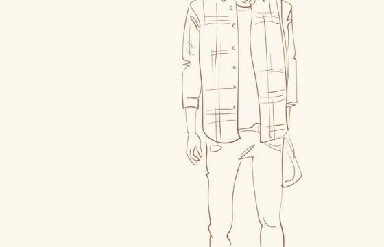 简约线条风格时尚格子衫休闲男装时装设计草图图片免抠矢量素材