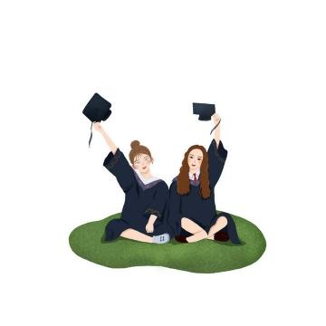 举着学士帽坐在草地上的青春少女毕业季图片免抠素材