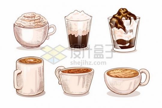 6款手绘彩绘风格咖啡杯奶茶饮料插画525356 png图片素材