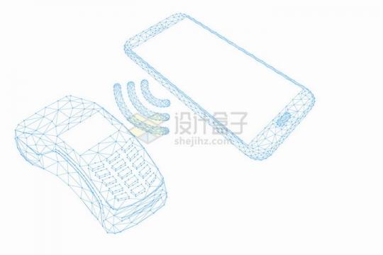 蓝色点线组成的智能手机和NFC支付终端png图片免抠矢量素材