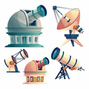 5种卡通漫画风格天文望远镜天文台科学探索工具png图片免抠矢量素材