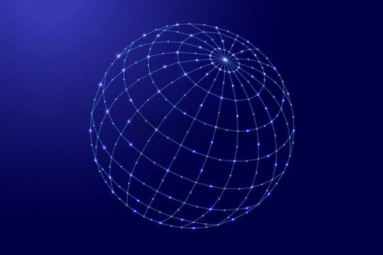 蓝色点线经纬线组成的圆球地球仪png图片免抠矢量素材