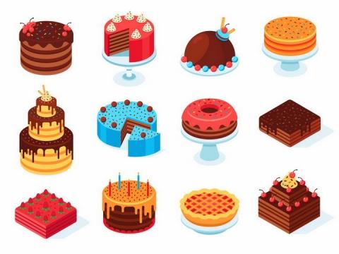 2.5D风格巧克力蛋糕切块美味生日蛋糕结婚蛋糕美食png图片免抠eps矢量素材