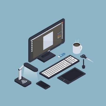 2.5D灰黑色等距风格插画设计师的电脑设备图片免抠素材