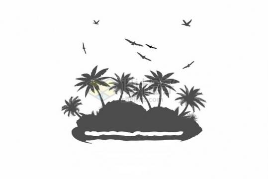 小岛上的椰子树风景剪影插画863413png图片素材