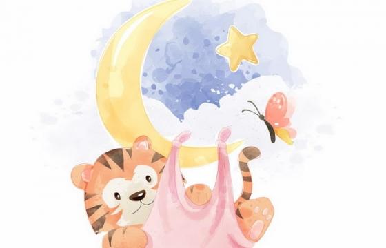 彩绘风格弯弯的月亮上挂着一只卡通老虎png图片免抠矢量素材