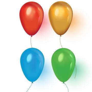 逼真的红色橙色蓝色和绿色气球图片免抠矢量图素材