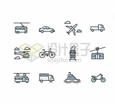 有轨电车出租车飞机卡车自行车货车缆车轮船摩托车等交通工具卡通图标png图片素材