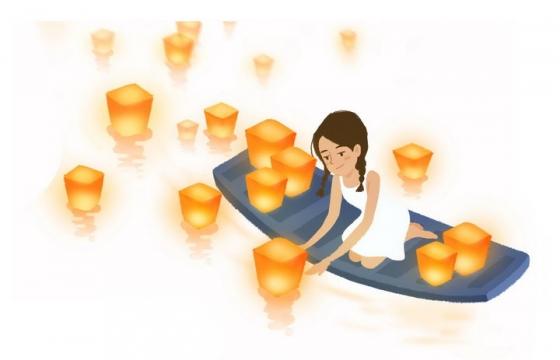 卡通美女坐在小船上放河灯祈福祝福png图片免抠素材