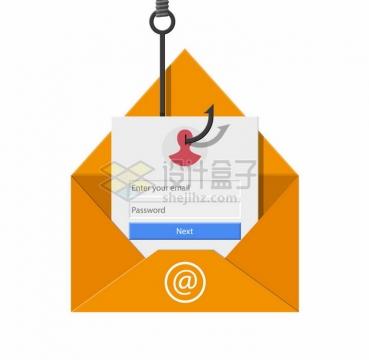 鱼钩从电子邮件中吊走个人信息网络钓鱼png图片素材